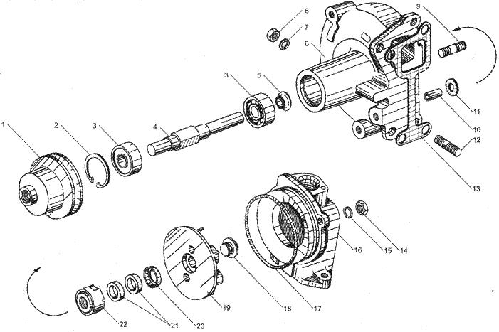 ЯМЗ 7511.10-06 Водяные трубки и термостаты системы охлаждения, для двигателей с индивидуальными головками цилиндра