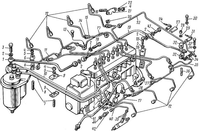 ЯМЗ 8421.10 Топливный трубопроводы