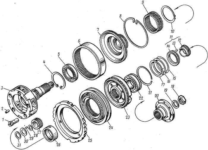 ЯМЗ 8421.10 Вал и шестерни понижающей передачи