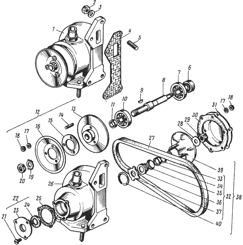 ЯМЗ 238 ИМ Водяной насос (выпуск до 1996г)