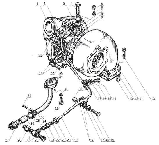 ЯМЗ 238 Б Трубки подвода и отвода масла турбокомпрессора