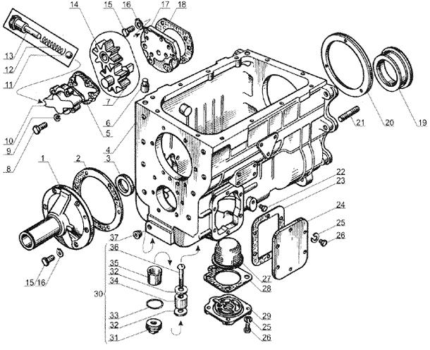 ЯМЗ 238 Б Картер и масляный насос коробки передач ЯМЗ 238А и ЯМЗ 238 Б