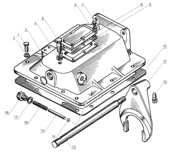 ЯМЗ 238 Б Механизм переключения понижающей передачи