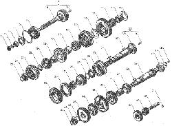 ЯМЗ 236 НЕ2 Валы и шестерни коробки передач