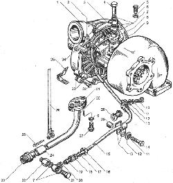 ЯМЗ 238ДЕ Трубки подвода и слива масла турбокомпрессора