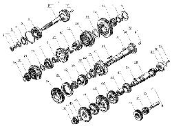 ЯМЗ 238 Д Валы и шестерни коробки передач  ЯМЗ 238М4 и ЯМЗ 238К4